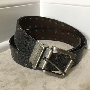 Other - Mens Studded black distressed leather belt 40